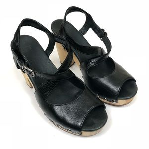 UGG Black Leather Nadia Sandals with Wooden Heel